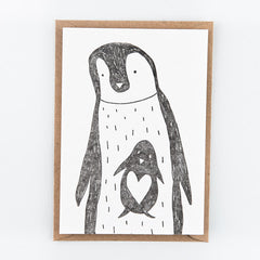 Studio Flash / Letterpress Postkaart / Pinguins