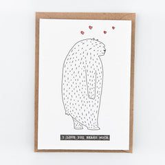 Studio Flash / Letterpress Postkaart / I love you beary much