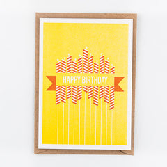 Studio Flash / Letterpress Postkaart / Happy Birthday Yellow