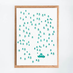 Studio Flash / Letterpress Postkaart / Tree Hunting