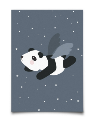 Postkaart mini print van Eef Lillemor / Flying Panda Blue