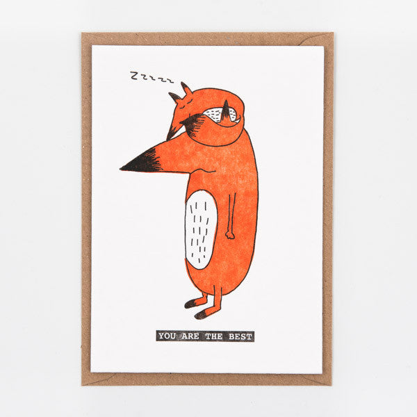 Studio Flash / Letterpress Postkaart / Foxy kids