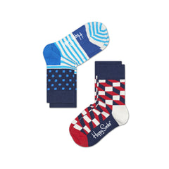 Happy Socks / Set van twee / Filled Optic Blauw