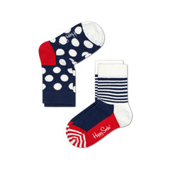 Happy Socks / Set van twee / Big Dot rood wit blauw