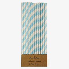 Meri Meri / Blue Striped Paper Straws