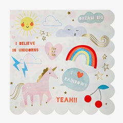 Meri Meri / Rainbow Unicorn Napkins / Large