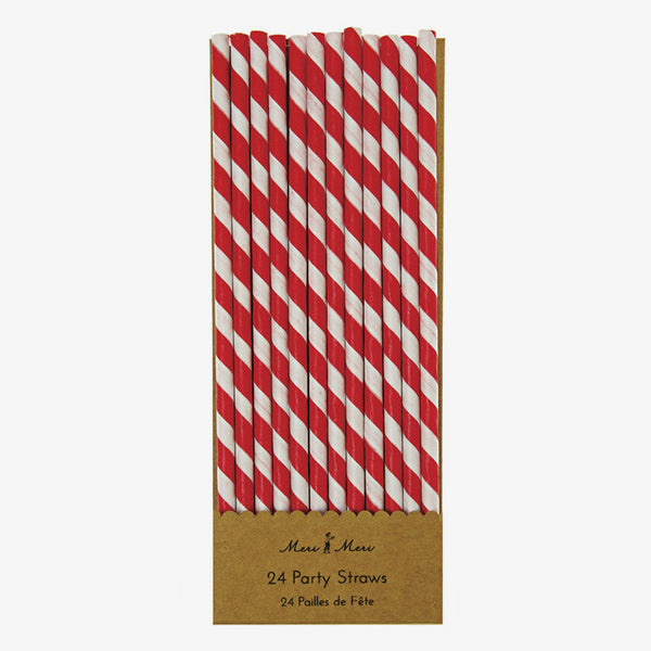 Meri Meri / Red Striped Paper Straws