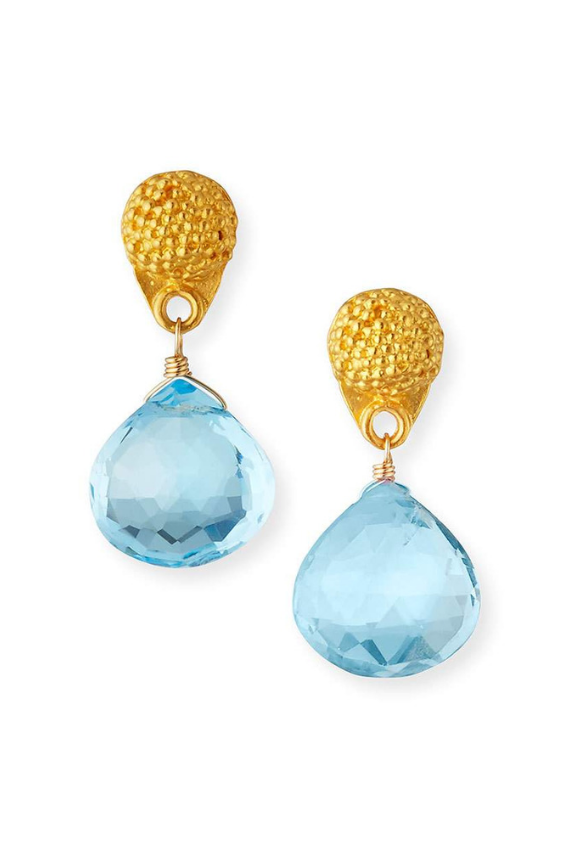 Petite Brazilian Blue Topaz Drop Earrings