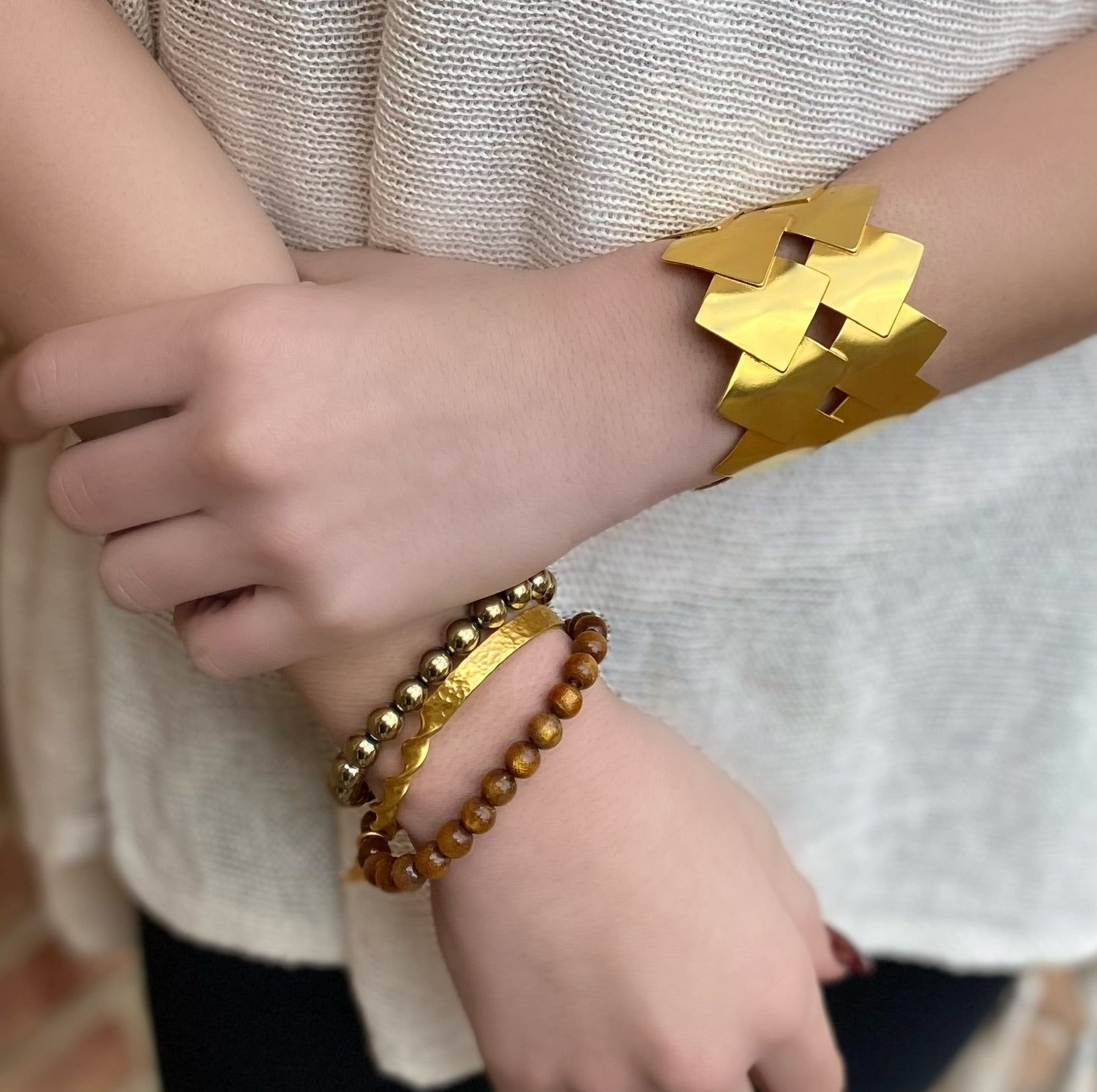 Gold Geo Checkered Cuff