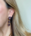 Model wearing Pink Tourmaline Slice Earrings