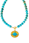 Jasper Necklace with Turquoise Pendant- Set