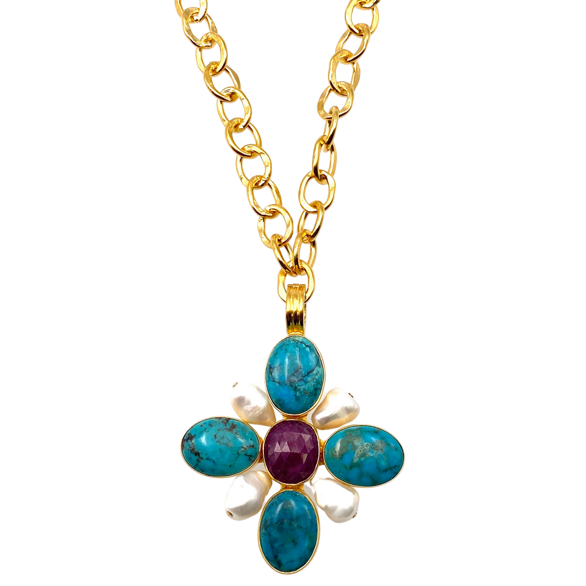 Turquoise, Ruby, Pearl Floral Pendant