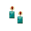 Coral and Turquoise Hi-Shine Earring