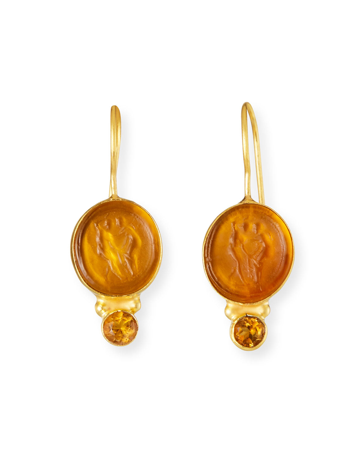 Italian Glass and Mandarin Garnet Middie Earrings
