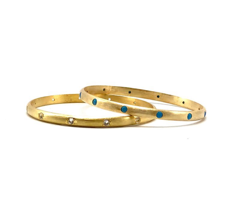 Slimline bangle, Topaz and Turquoise