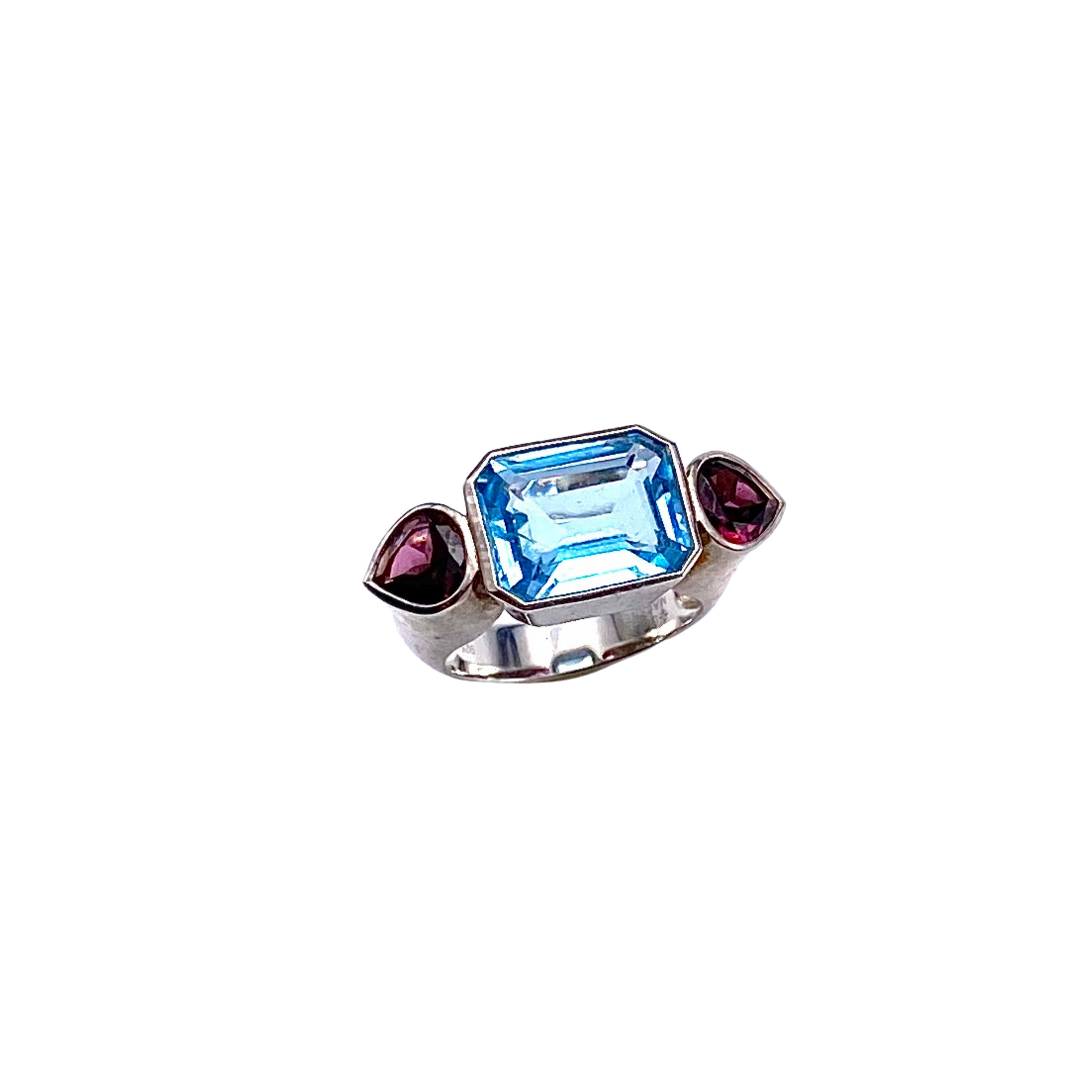 Sterling Blue Topaz + Garnet Ring