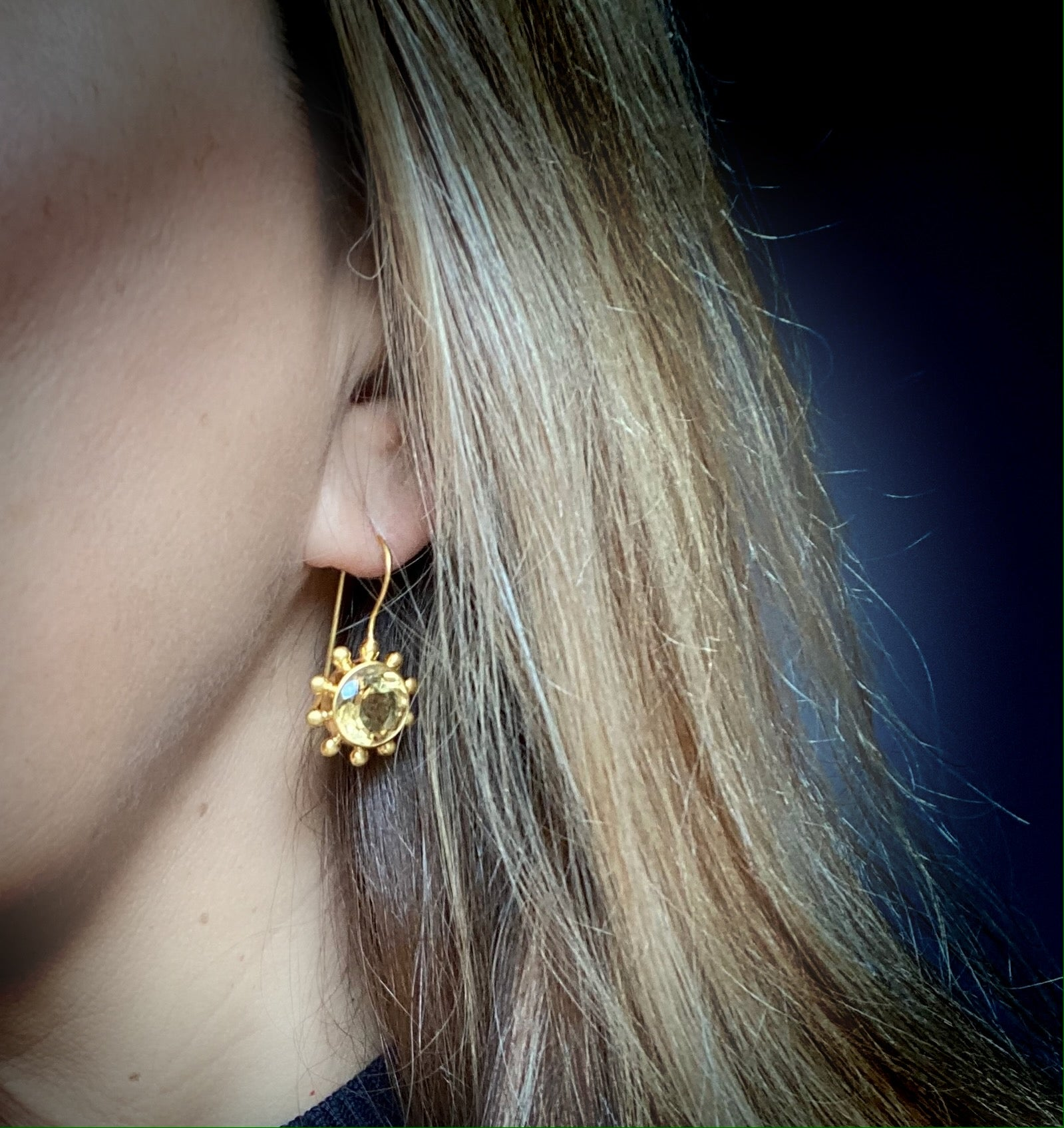 Citrine Pinwheel Earrings