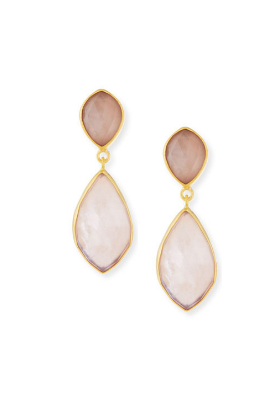 Rose Quartz Triplet Earrings