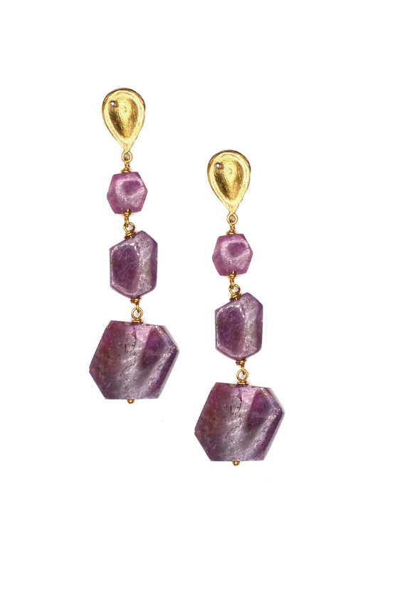 Pink Tourmaline Geo Drop Earrings
