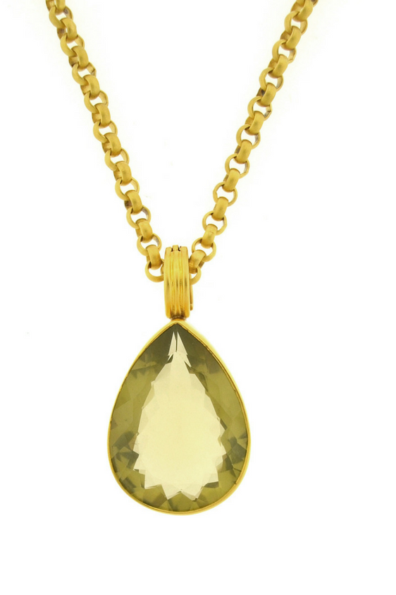 Lemon Citrine Teardrop Pendant