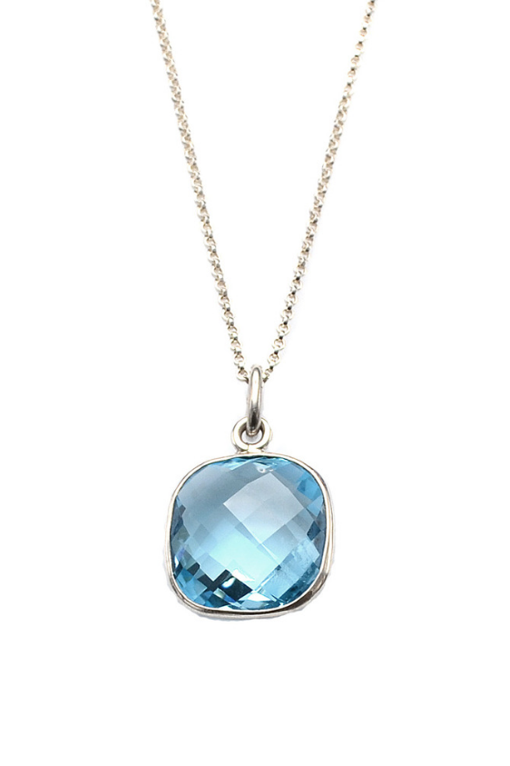 Brazilian Blue Topaz Pendant Necklace