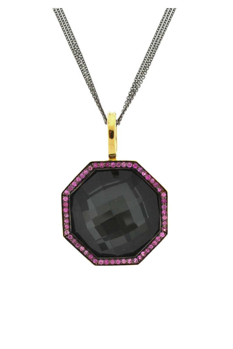 Hematite Doublet and Ruby Pendant Necklace