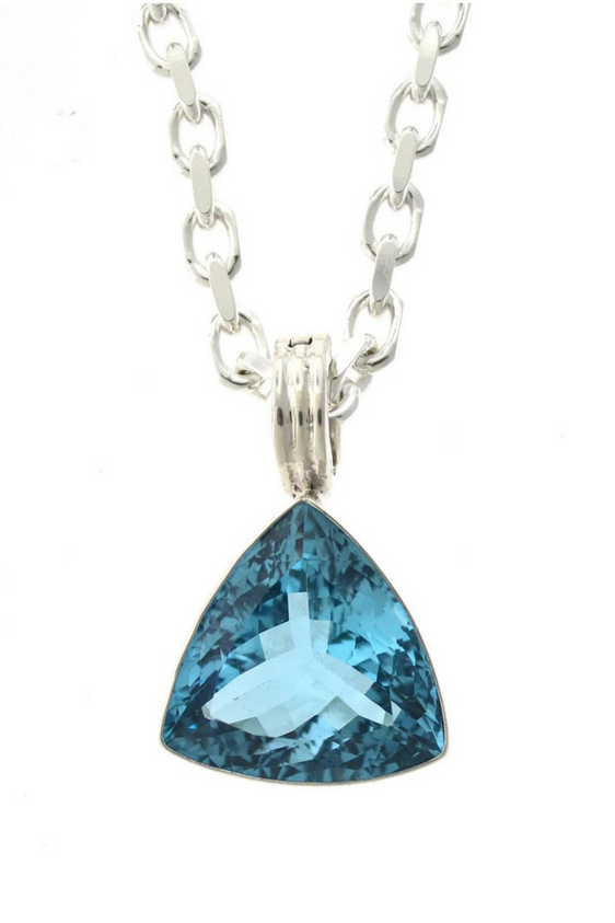 Sterling Silver Blue Topaz Trillion Pendant