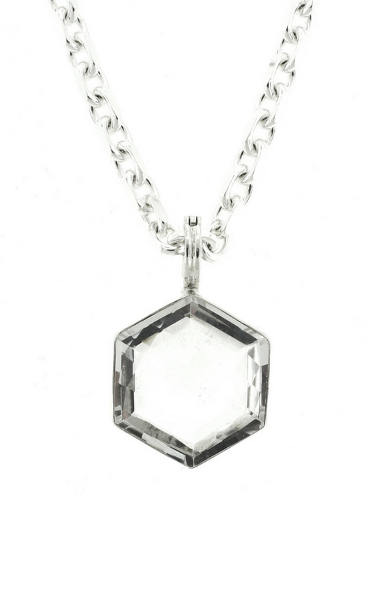 Sterling Silver Natural Rock Crystal Pendant