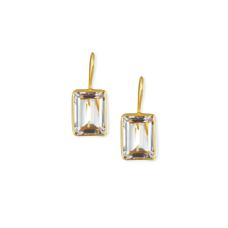 Emerald Cut Rock Crystal Drop Earrings