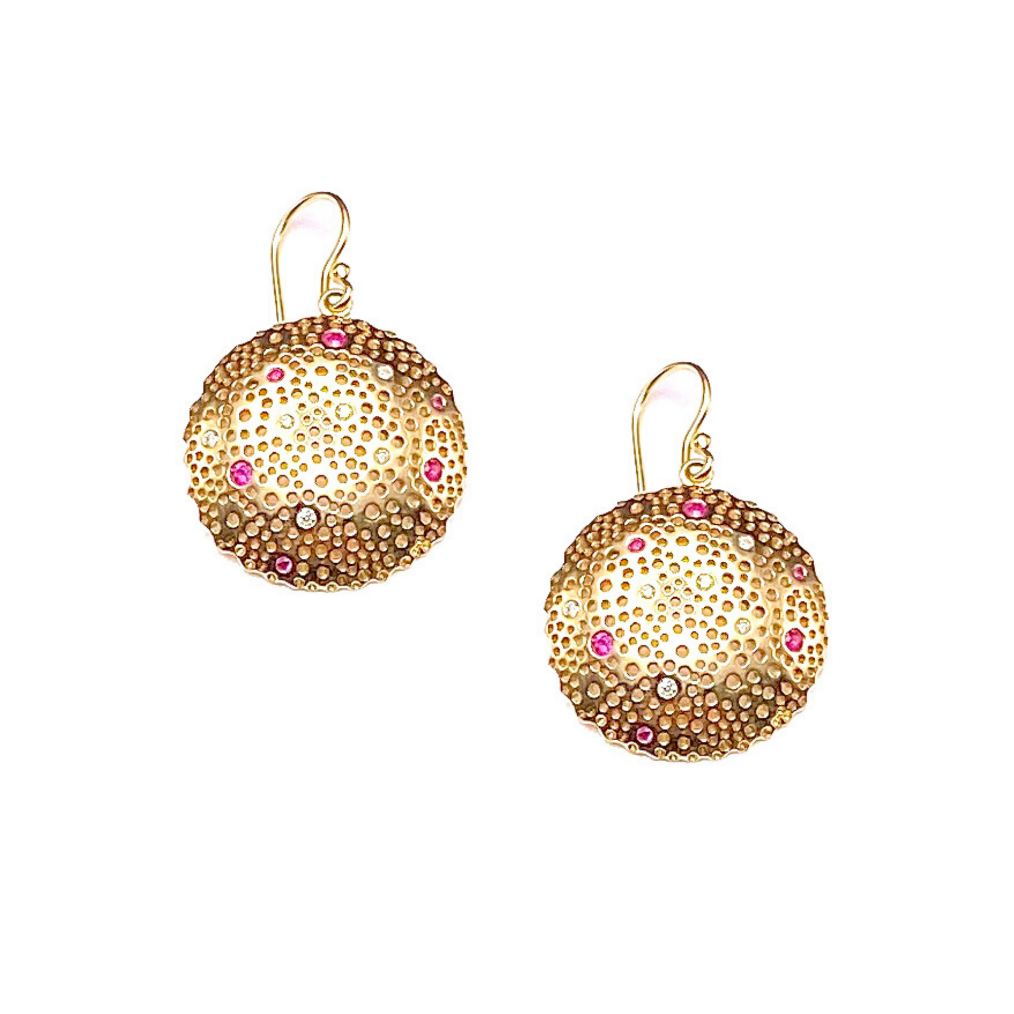 Pink Sapphire and Diamond Celestial Earrings