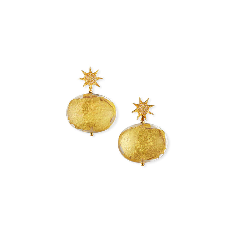 Diamond Star Gold Foil Earrings