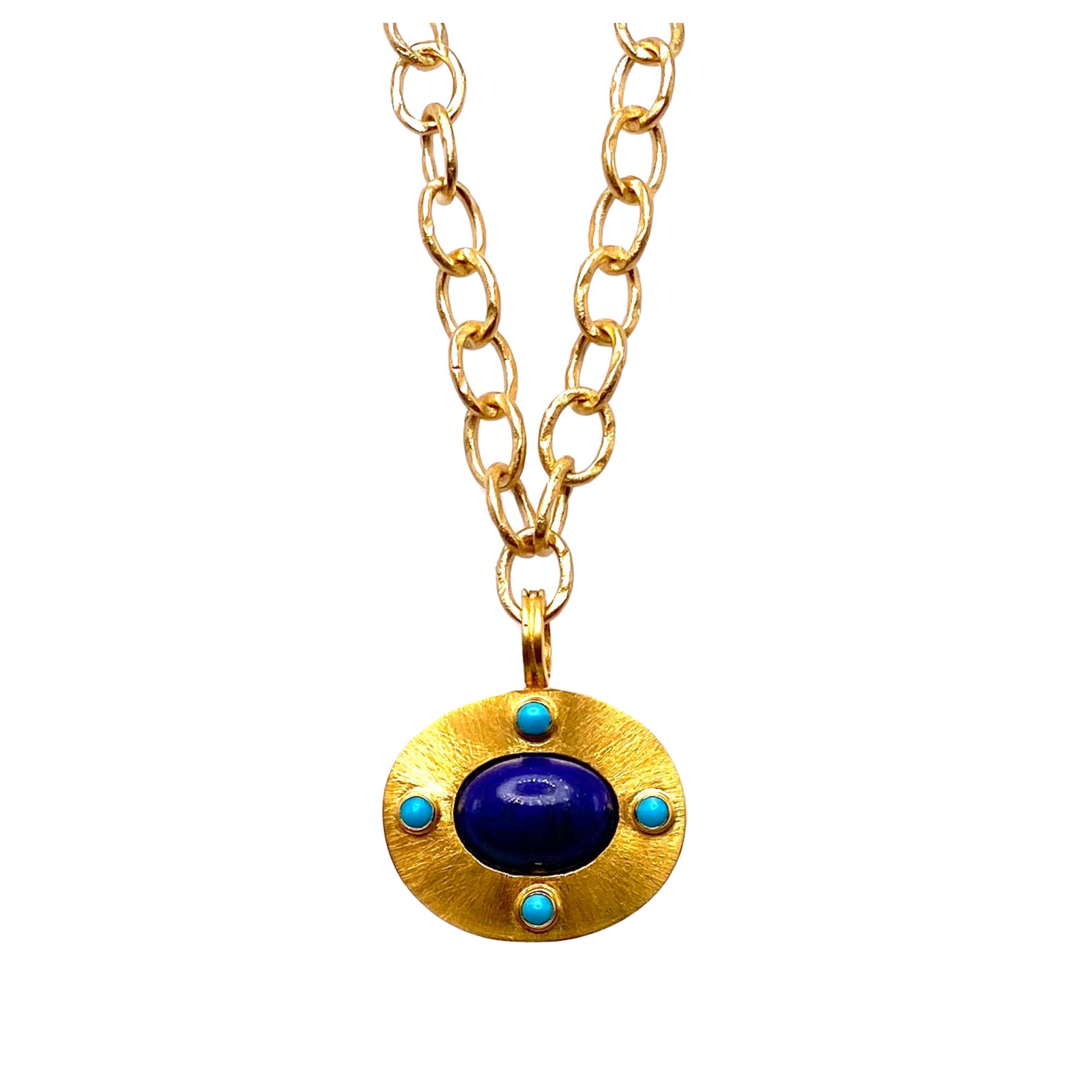 Lapis and Turquoise Disc Pendant