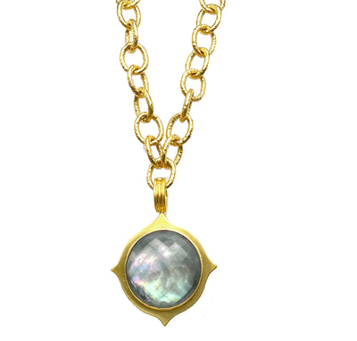 Gray Mother of Pearl Doublet Lotus Pendant