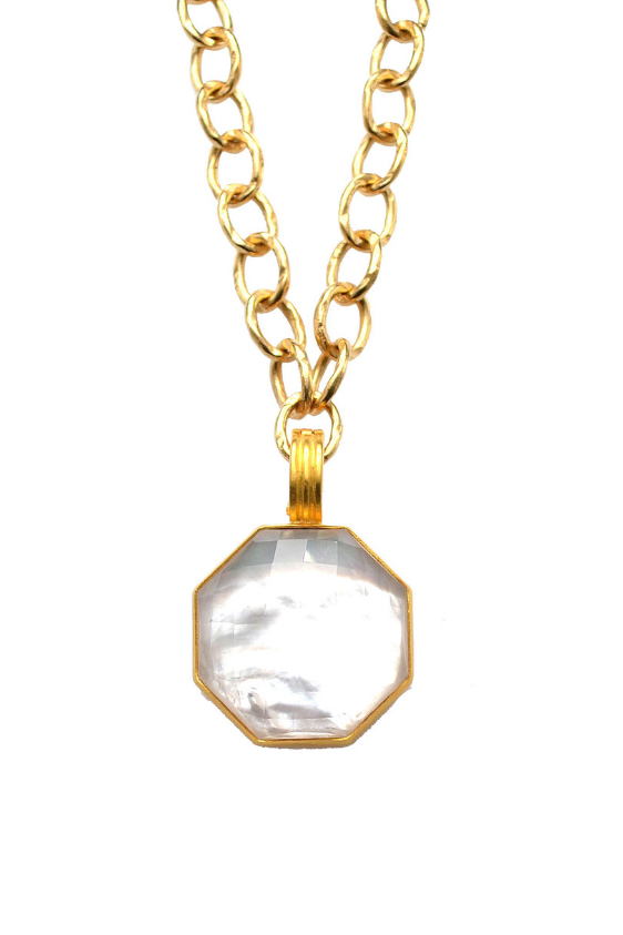 Octagonal Mother of Pearl Doublet Pendant