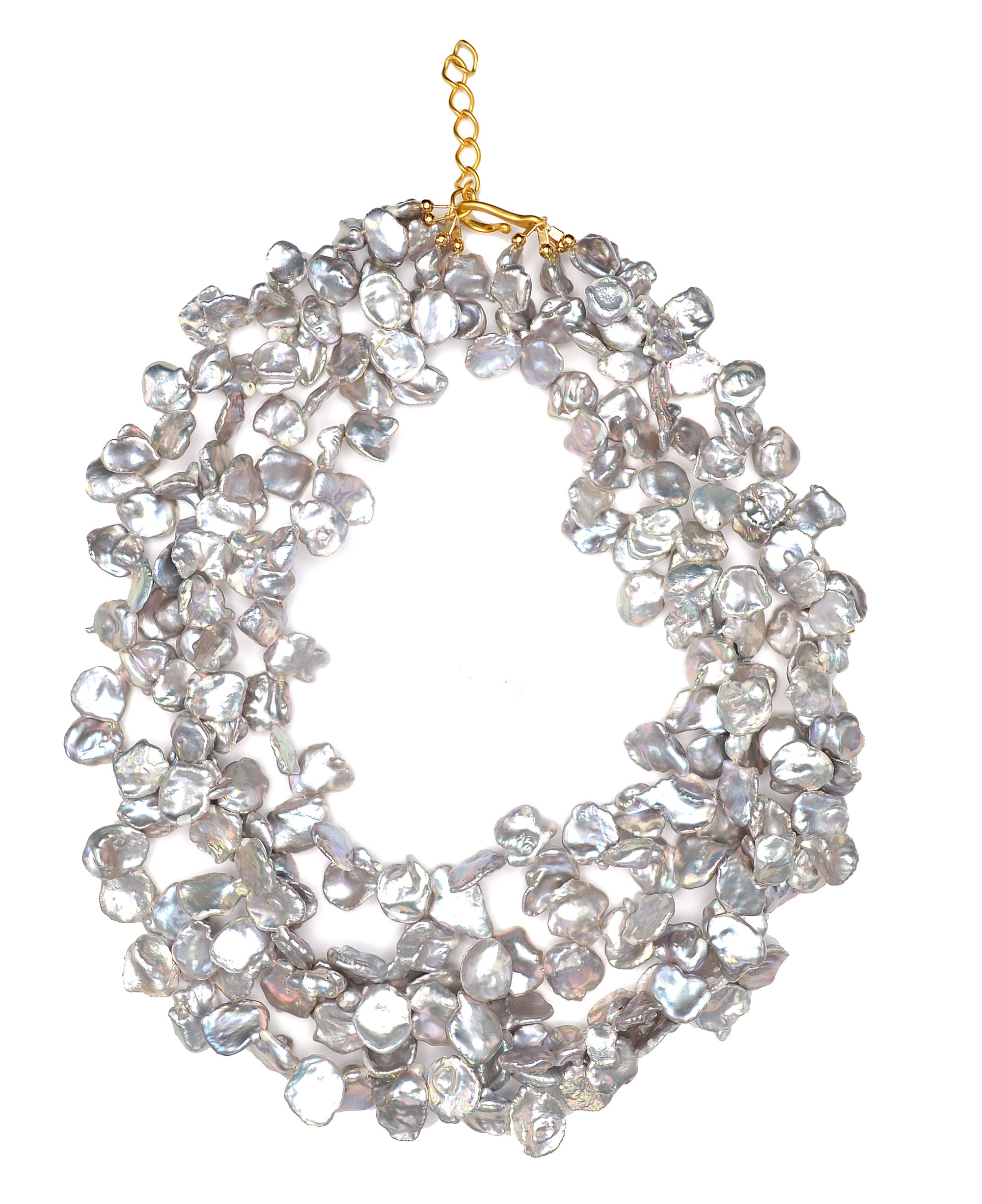 Petal Pearl Necklace Gray