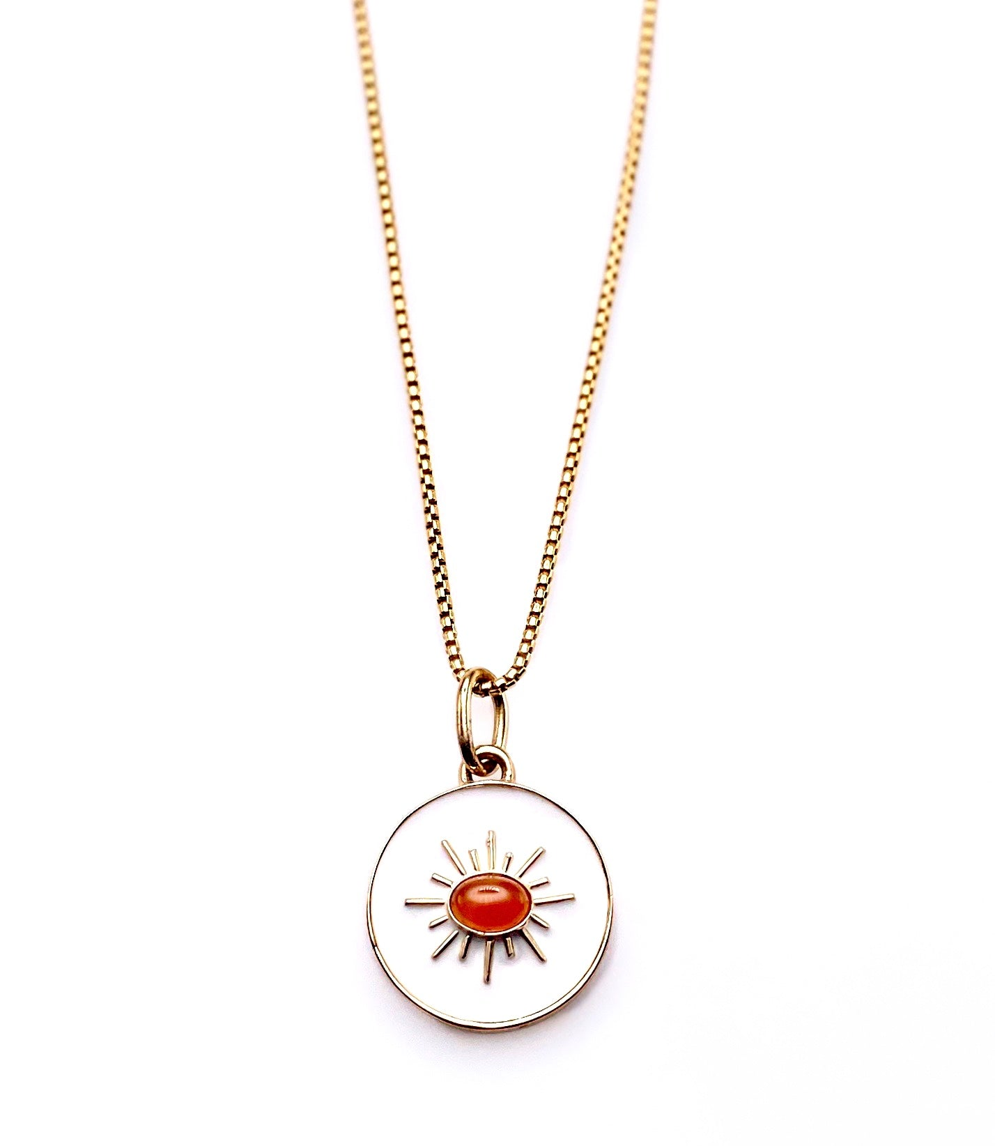 Carnelian Enamel Pendant Necklace
