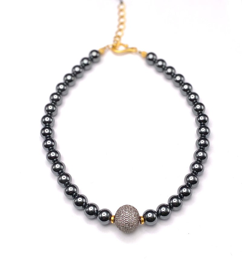 Hematite Necklace with Pave set Topaz Ball Pendant