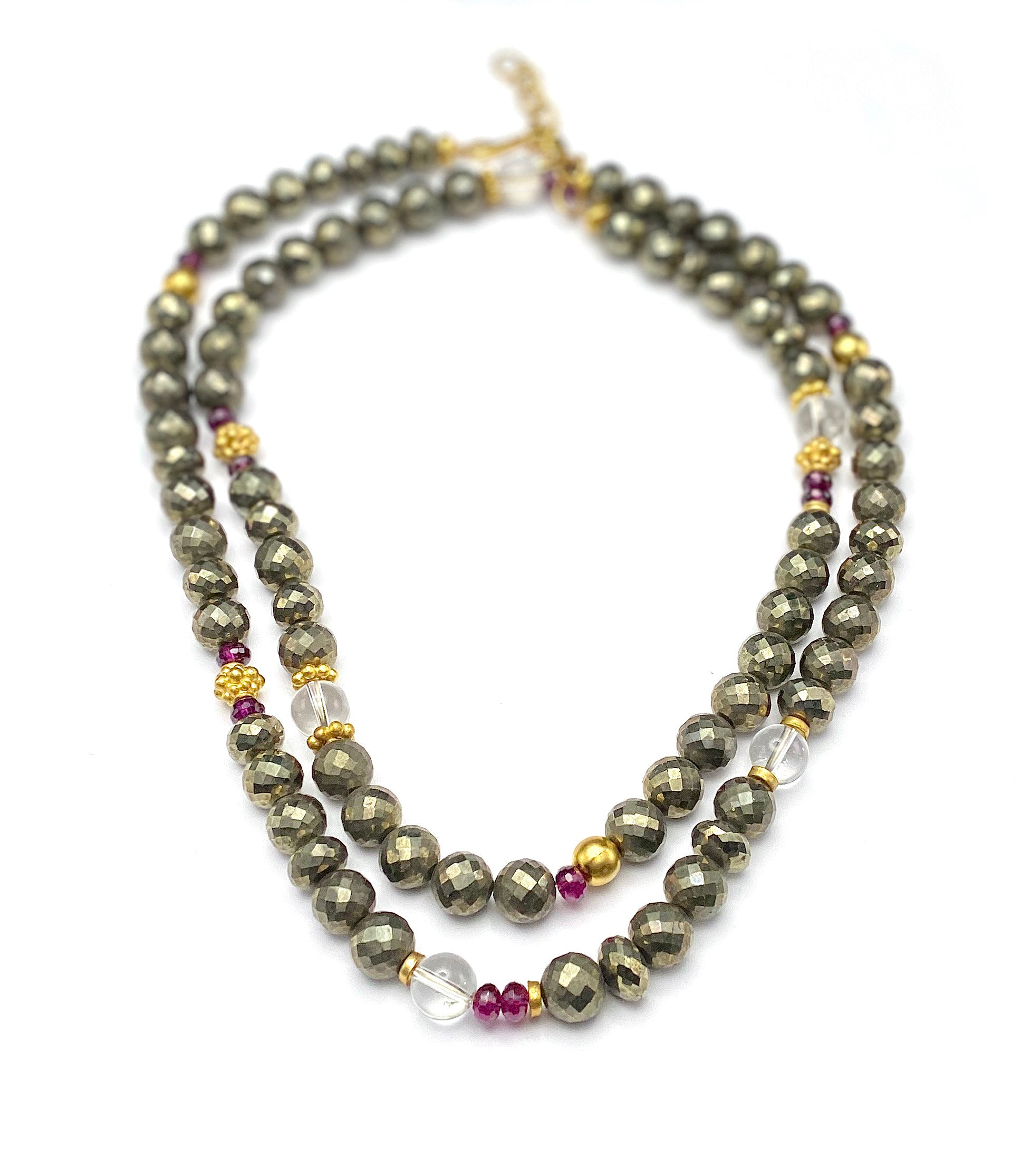 "Pyrite and Garnet 36"" Necklace"