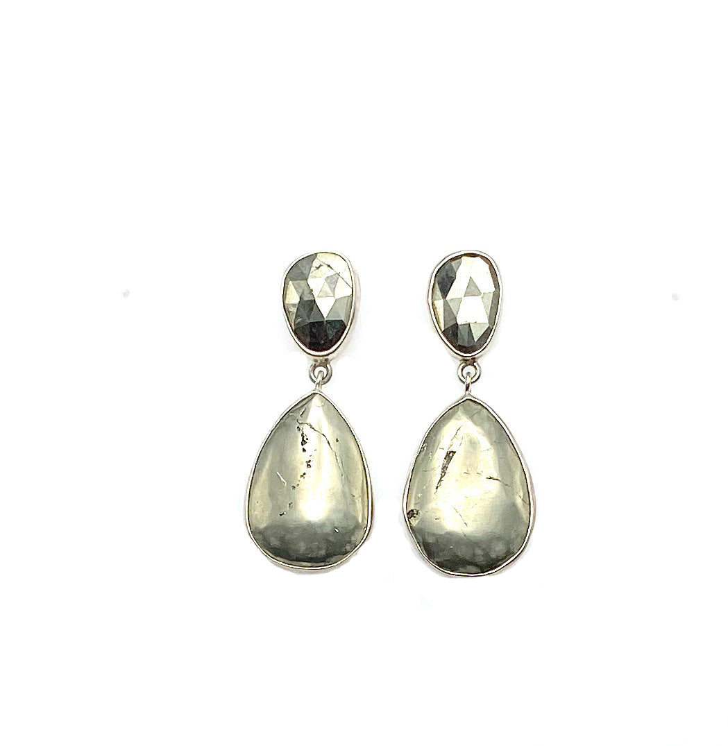 Peruvian Pyrite Double Ear, Sterling