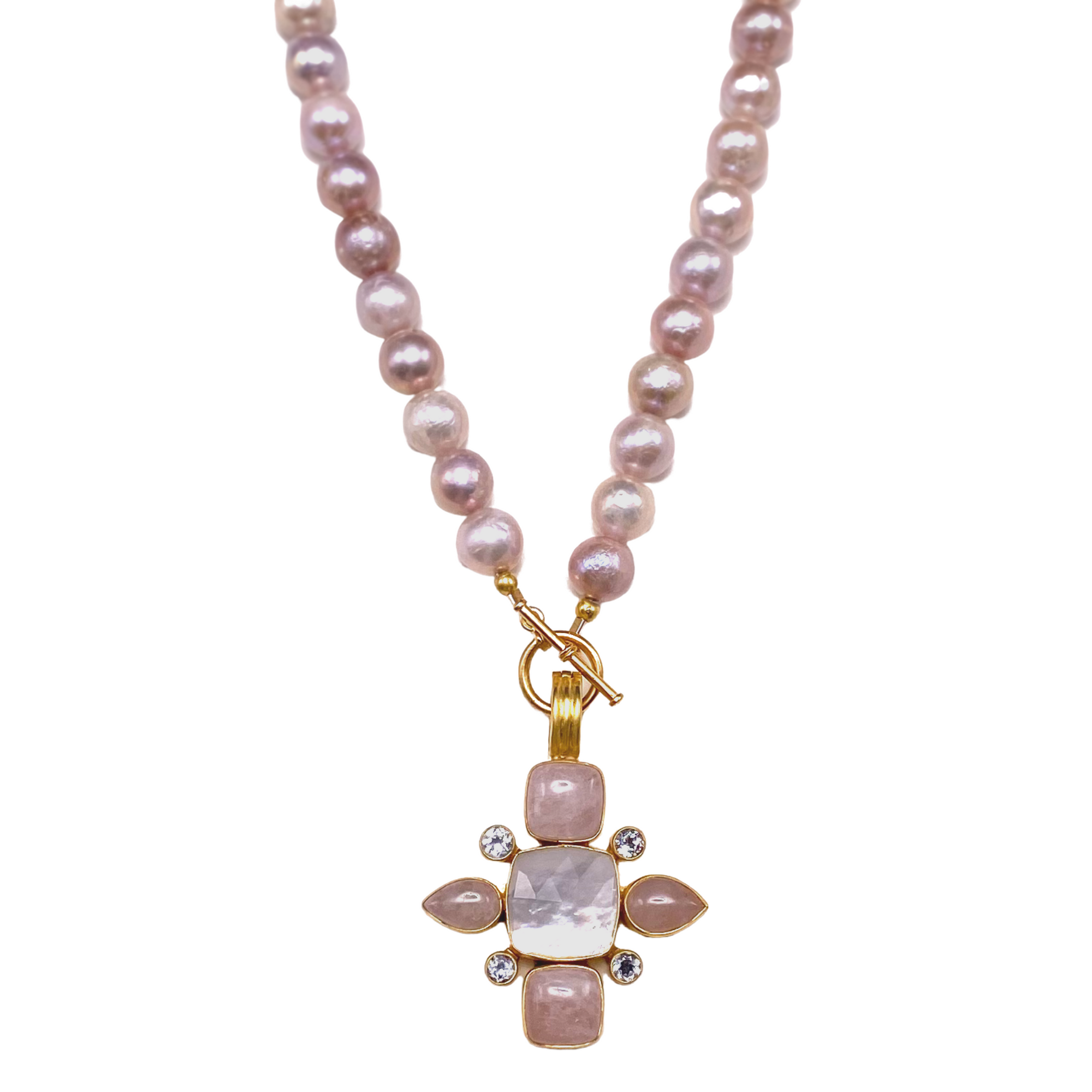 Kunzite and Pearl Necklace