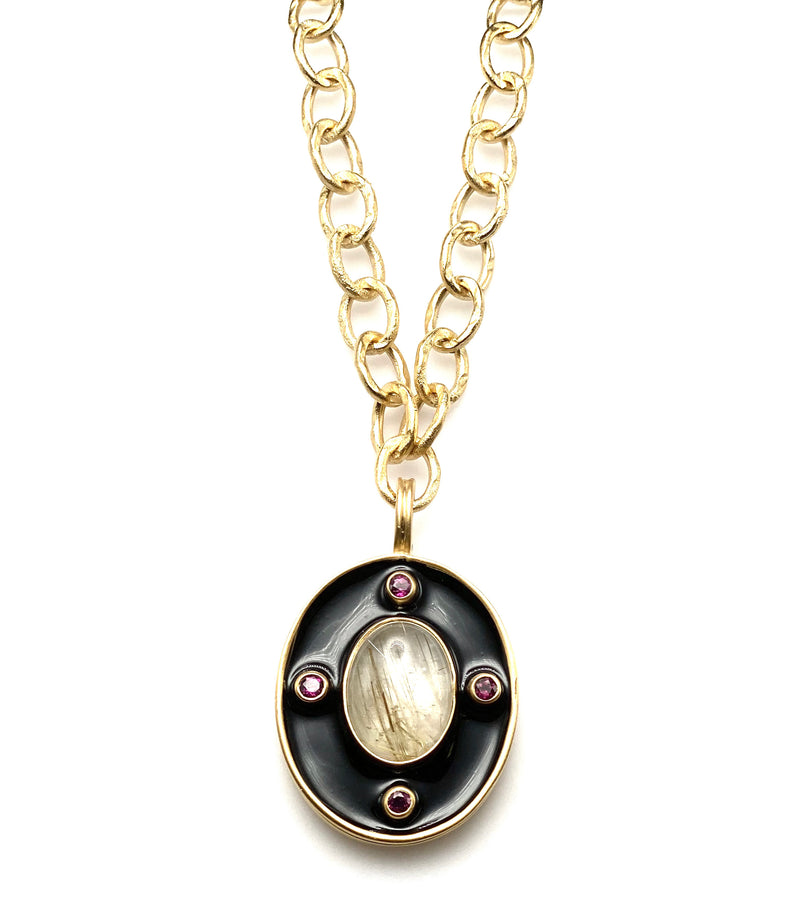 Rutilated Quartz, Garnet and Ceramic Pendant