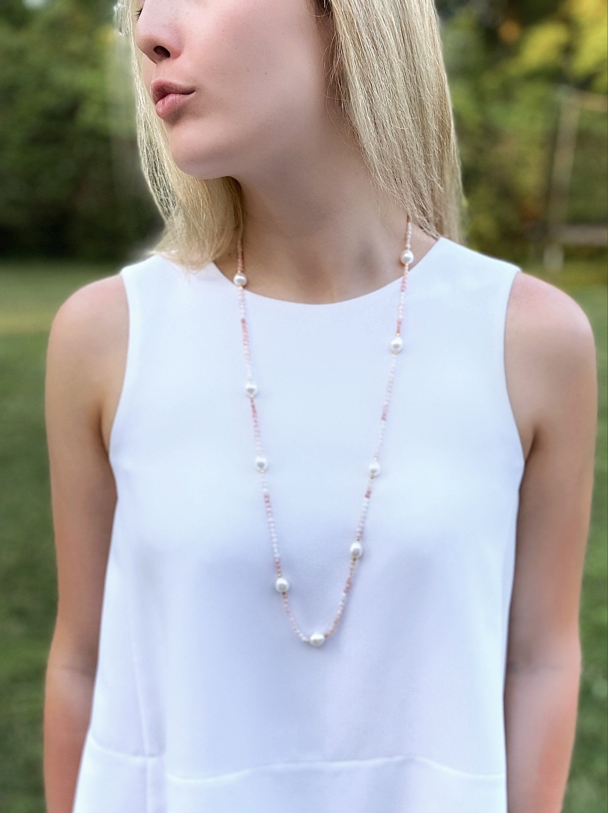 Model wearing Pink Opal Station Neck