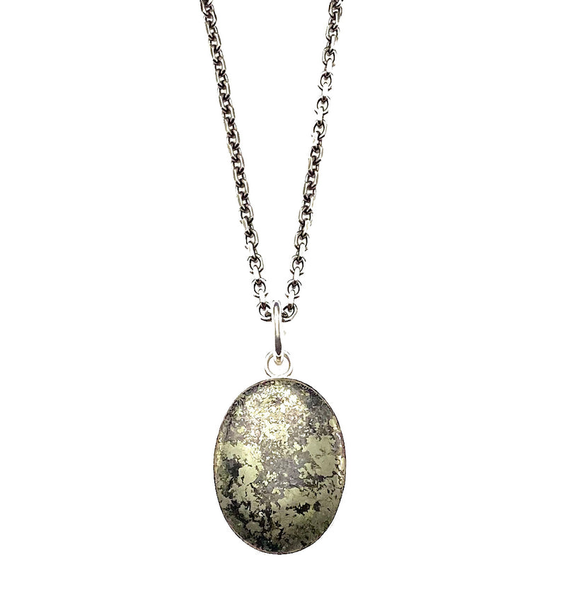 Sterling Silver and Pyrite Pendant Necklace