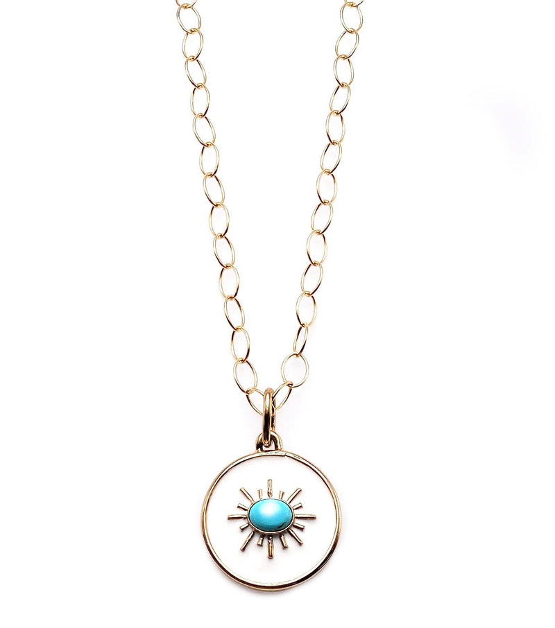 Turquoise Enamel Pendant Necklace Set