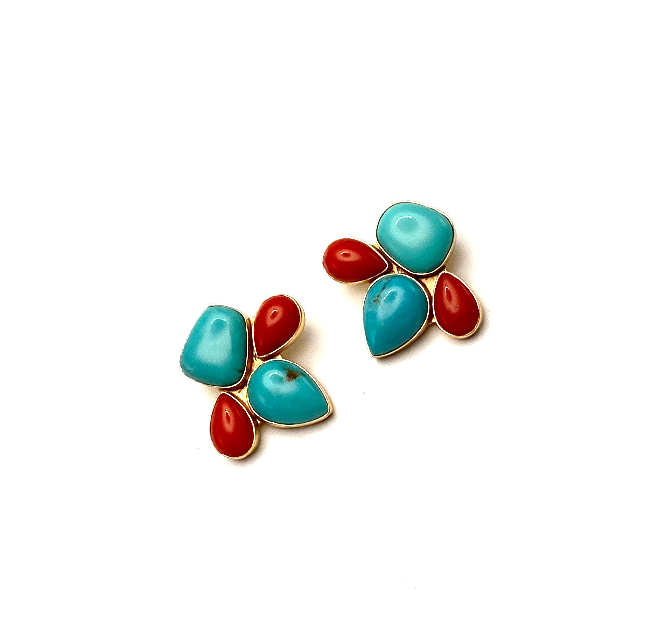 Turquoise Coral Mosaic Clip Earring