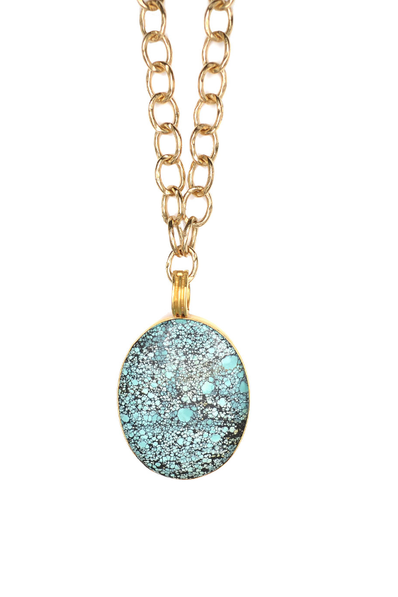 Turquoise Oval Matrix Pendant Large
