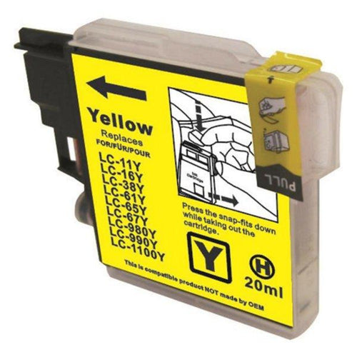 Brother LC67 compatible yellow ink cartridge