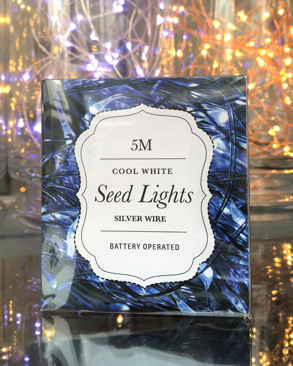 Silver Wire Seed Lights - Cool White 5m