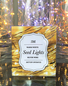 Silver Wire Seed Lights - Warm White 5m