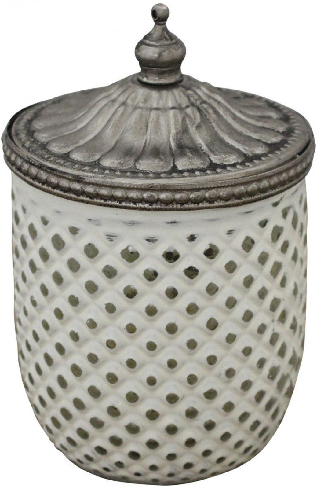 White Glass Candle with Silver Lid